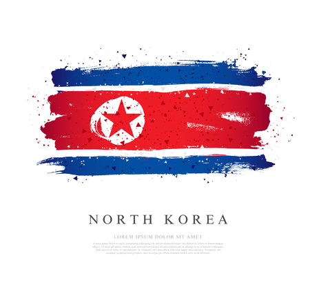 Flag of North Korea. Vector illustration on a white background. Brush strokes are drawn by hand. Independence Day.