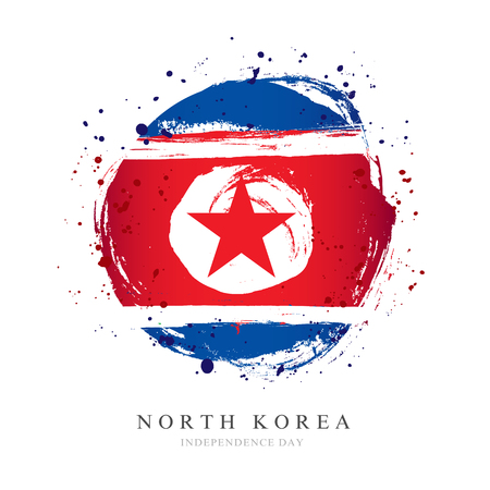 Flag of North Korea in the shape of a big circle. Vector illustration on a white background. Brush strokes are drawn by hand. Independence Day.
