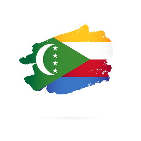 Flag of Comoros. Vector illustration on a white background. Brush strokes are drawn by hand. Illustration