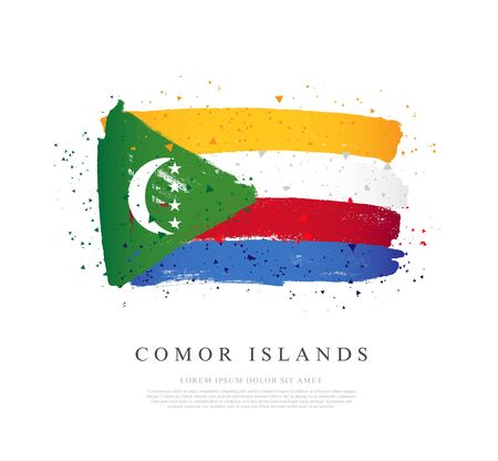 Flag of Comoros. Vector illustration on a white background. Brush strokes are drawn by hand. Independence Day.