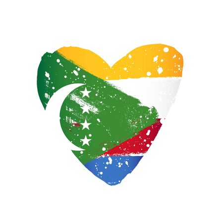Flag of the Comoros in the form of a big heart. Vector illustration on a white background. Brush strokes are drawn by hand. Independence Day. Illustration