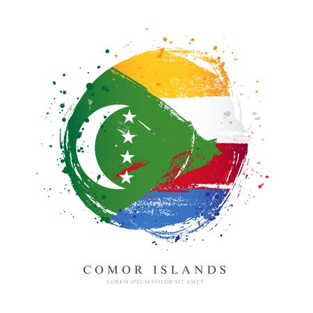 Comoros flag in the shape of a big circle. Vector illustration on a white background. Brush strokes are drawn by hand. Independence Day. Illustration