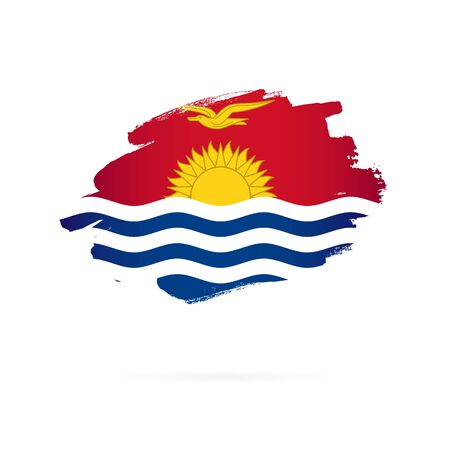 Flag of Kiribati. Vector illustration on a white background. Brush strokes are drawn by hand.