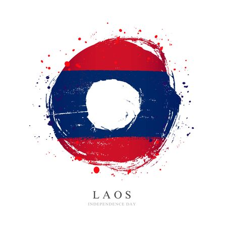 Laos flag in the shape of a big circle. Vector illustration on a white background. Brush strokes are drawn by hand. Independence Day. 일러스트