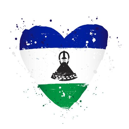 Flag of Lesotho in the form of a big heart. Vector illustration on a white background. Brush strokes are drawn by hand. Independence Day.
