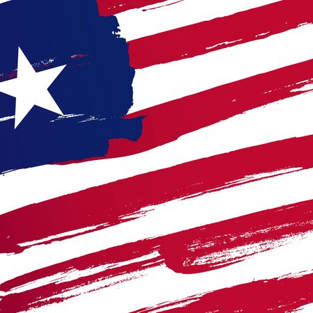Flag of Liberia. Vector illustration on a white background. Brush strokes are drawn by hand. Independence Day.