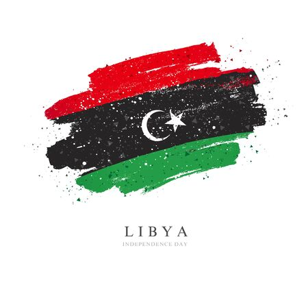 Libya flag. Vector illustration on a white background. Brush strokes are drawn by hand. Independence Day. Иллюстрация