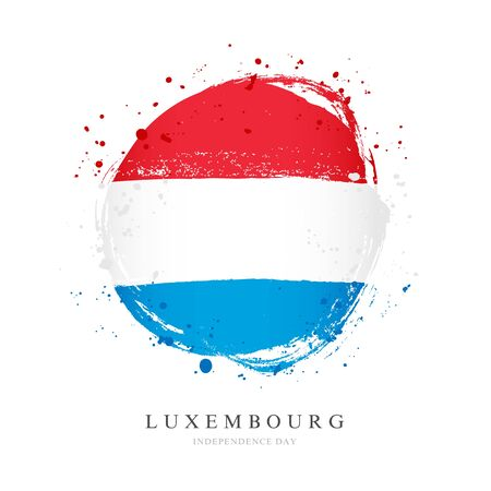 Luxembourg flag in the shape of a big circle. Vector illustration on a white background. Brush strokes are drawn by hand. Independence Day.