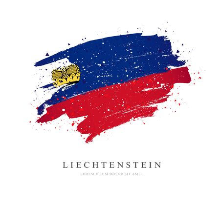 Flag of Liechtenstein. Vector illustration on a white background. Brush strokes are drawn by hand. Independence Day. Иллюстрация