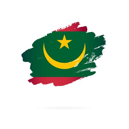 Moorish flag. Vector illustration on a white background. Brush strokes are drawn by hand. Mauritania Independence Day. Иллюстрация