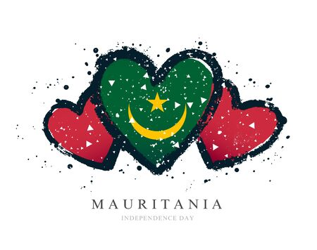 Moorish flag in the form of three hearts. Vector illustration on a white background. Brush strokes are drawn by hand. Mauritania Independence Day.
