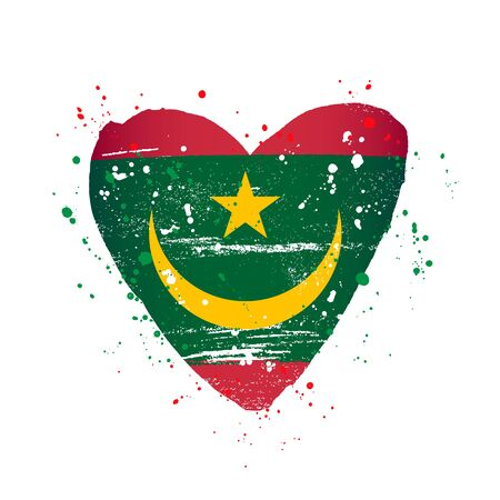 Moorish flag in the form of a big heart. Vector illustration on a white background. Brush strokes are drawn by hand. Independence Day. Mauritania.