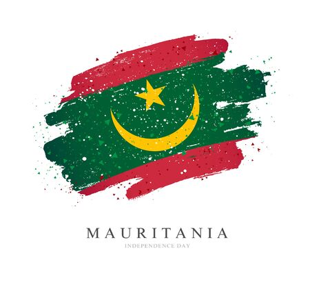 Flag of Mauritania. Vector illustration on a white background. Brush strokes are drawn by hand. Independence Day.