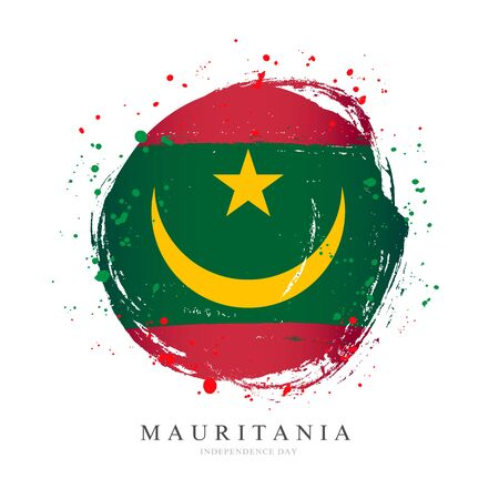 Moorish flag in the shape of a big circle. Vector illustration on a white background. Brush strokes are drawn by hand. Mauritania Independence Day. Иллюстрация