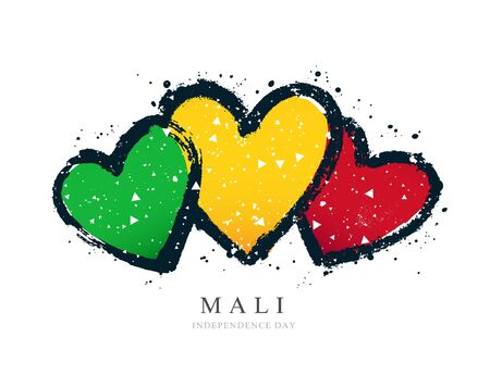 Malian flag in the form of three hearts. Vector illustration on a white background. Brush strokes are drawn by hand. Mali Independence Day.