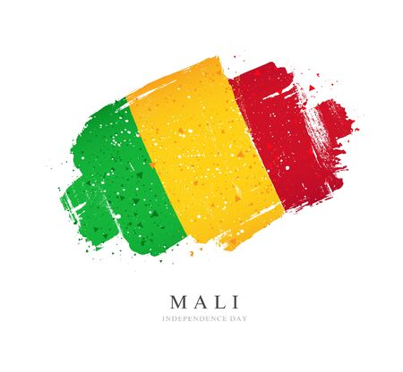 Flag of Mali. Vector illustration on a white background. Brush strokes are drawn by hand. Independence Day.