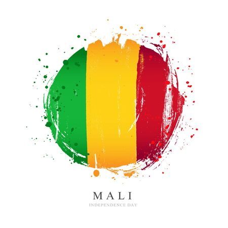 Flag of Mali in the shape of a big circle. Vector illustration on a white background. Brush strokes are drawn by hand. Independence Day