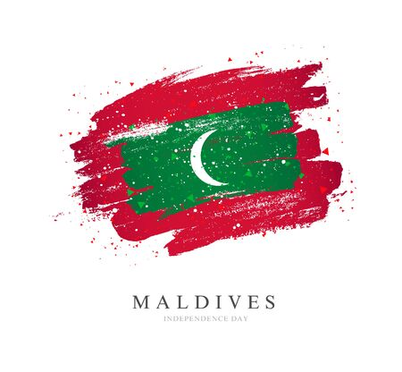 Flag of the Maldives in the shape of a big circle. Vector illustration on a white background. Brush strokes are drawn by hand. Independence Day.