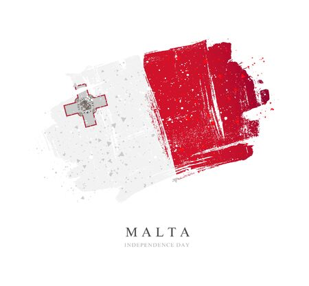 Flag of Malta. Vector illustration on a white background. Brush strokes are drawn by hand. Independence Day.