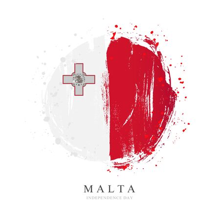 Malta flag in the shape of a big circle. Vector illustration on a white background. Brush strokes are drawn by hand. Independence Day. 스톡 콘텐츠 - 129090363