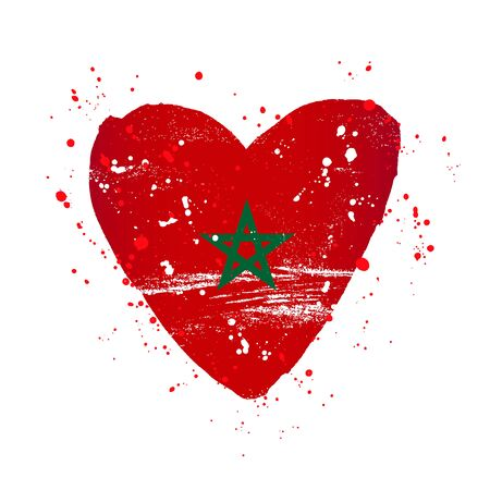 Moroccan flag in the form of a big heart. Vector illustration on a white background. Brush strokes are drawn by hand. Morocco Independence Day. Иллюстрация