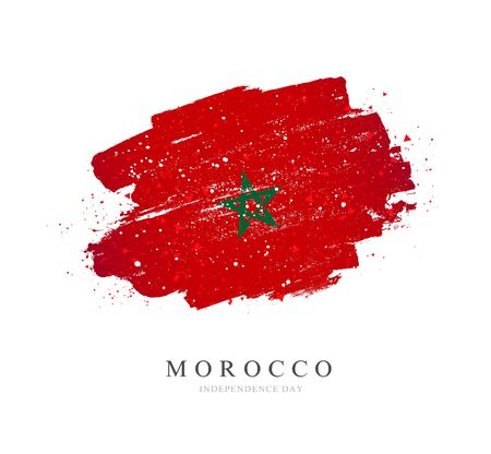 Flag of Morocco. Vector illustration on a white background. Brush strokes are drawn by hand. Independence Day. Illustration