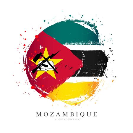 Mozambique flag in the shape of a big circle. Vector illustration on a white background. Brush strokes are drawn by hand. Independence Day.