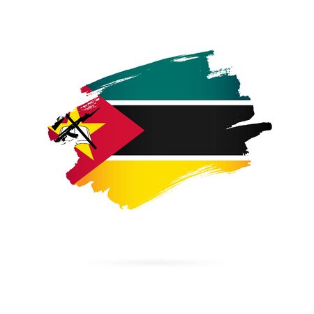 Flag of Mozambique. Vector illustration on a white background. Brush strokes are drawn by hand.