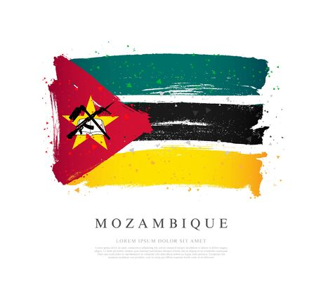 Flag of Mozambique. Vector illustration on a white background. Brush strokes are drawn by hand. Independence Day.