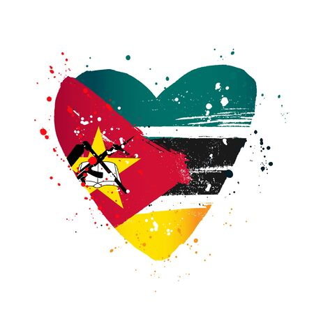 Mozambique flag in the form of a big heart. Vector illustration on a white background. Brush strokes are drawn by hand. Independence Day.