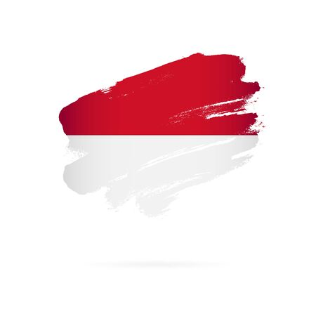 Flag of Monaco. Vector illustration on a white background. Brush strokes are drawn by hand.