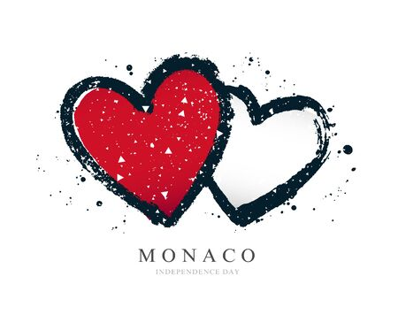 Monaco flag in the form of two hearts. Vector illustration on a white background. Brush strokes are drawn by hand. Independence Day. Иллюстрация