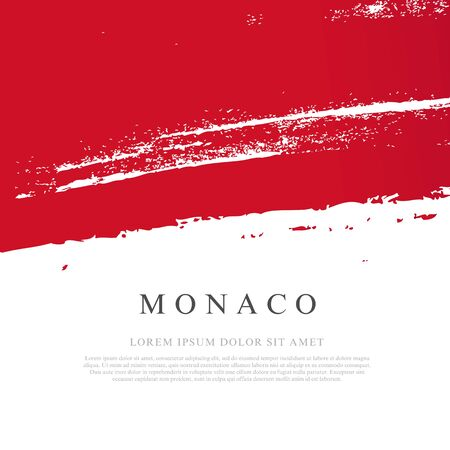 Flag of Monaco. Vector illustration on a white background. Brush strokes are drawn by hand. Independence Day. Иллюстрация