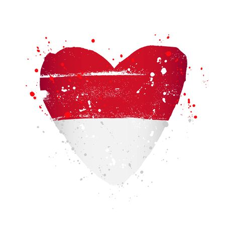 Monaco flag in the form of a big heart. Vector illustration on a white background. Brush strokes are drawn by hand. Independence Day.