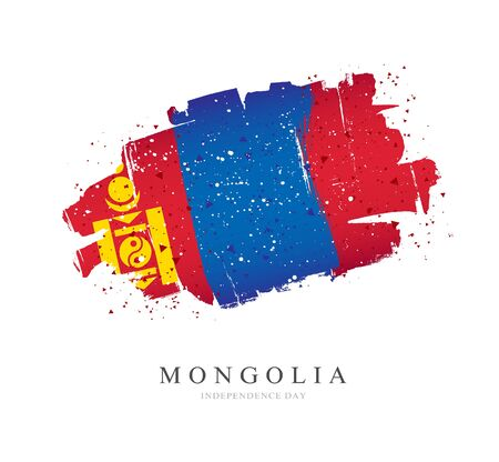 Flag of Mongolia. Vector illustration on a white background. Brush strokes are drawn by hand. Independence Day.