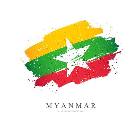 Myanmar flag. Vector illustration on a white background. Brush strokes are drawn by hand. Independence Day.