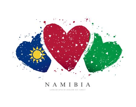 Namibian flag in the form of three hearts. Vector illustration on a white background. Brush strokes are drawn by hand. Namibian Independence Day. Иллюстрация