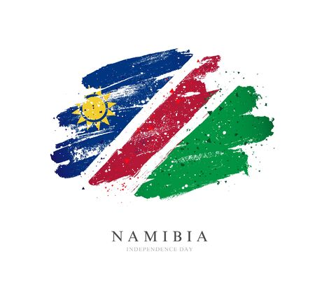 Flag of Namibia. Vector illustration on a white background. Brush strokes are drawn by hand. Independence Day.
