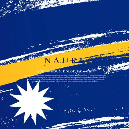 Flag of Nauru. Vector illustration on a white background. Brush strokes are drawn by hand. Independence Day. Иллюстрация