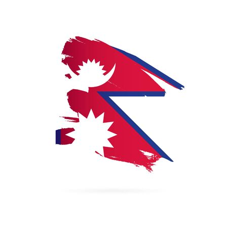 Flag of Nepal. Vector illustration on a white background. Brush strokes are drawn by hand. Ilustração
