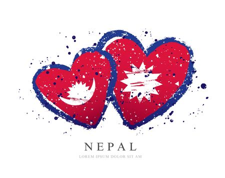 Nepali flag in the form of three hearts. Vector illustration on a white background. Brush strokes are drawn by hand. Independence Day of Nepal.
