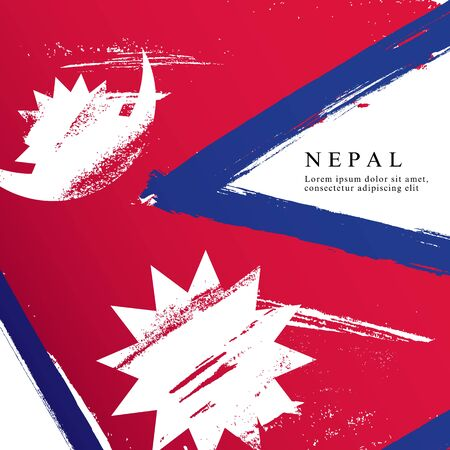 Flag of Nepal. Vector illustration on a white background. Brush strokes are drawn by hand. Independence Day.