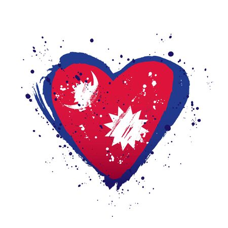 Nepali flag in the form of a big heart. Vector illustration on a white background. Brush strokes are drawn by hand. Independence Day of Nepal.