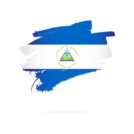 Flag of Nicaragua. Vector illustration on a white background. Brush strokes are drawn by hand.  イラスト・ベクター素材