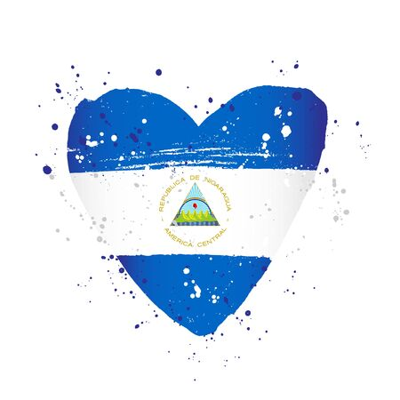 Nicaraguan flag in the form of a big heart. Vector illustration on a white background. Brush strokes are drawn by hand. Nicaragua Independence Day.