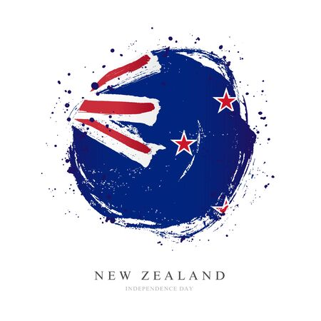 New Zealand flag in the shape of a big circle. Vector illustration on a white background. Brush strokes are drawn by hand. Independence Day.