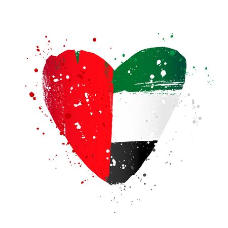 UAE flag in the form of a big heart. Vector illustration on a white background. Brush strokes are drawn by hand. Independence Day.