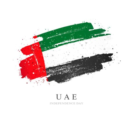 UAE flag. Vector illustration on a white background. Brush strokes are drawn by hand. Independence Day.  일러스트