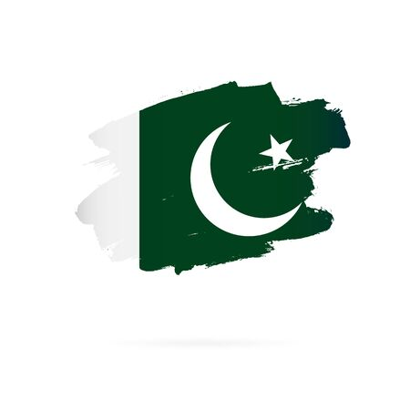 Flag of Pakistan. Vector illustration on a white background. Brush strokes are drawn by hand.