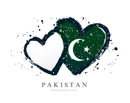 Pakistan flag in the form of two hearts. Vector illustration on a white background. Brush strokes are drawn by hand. Independence Day.